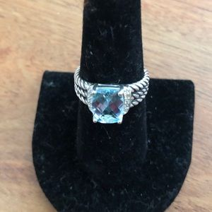 David Yurman Petite Wheaton 7 Blue Topaz Ring Mint
